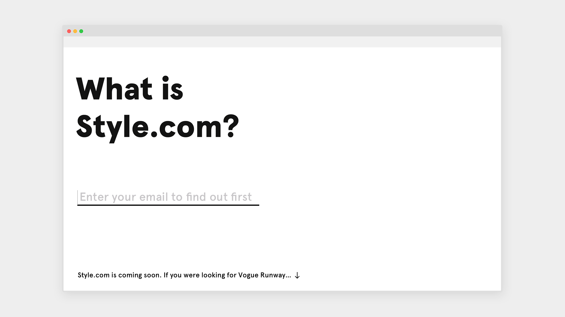 Style.com Pre-launch